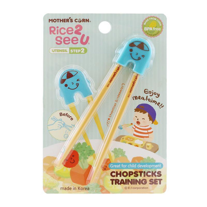 Chopsticks Training Set Blue - Mother's Corn Training Chopsticks - Blue