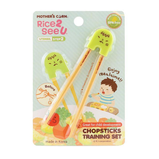 Chopsticks Training Set Pink - Mother's Corn Training Chopsticks - Green