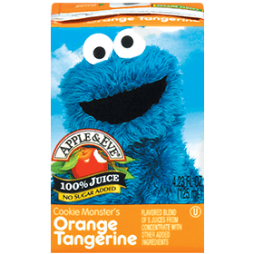 Apple & Eve Sesame Street - Cookie Monster's Orange Tangerine, 8 x 125 ml.