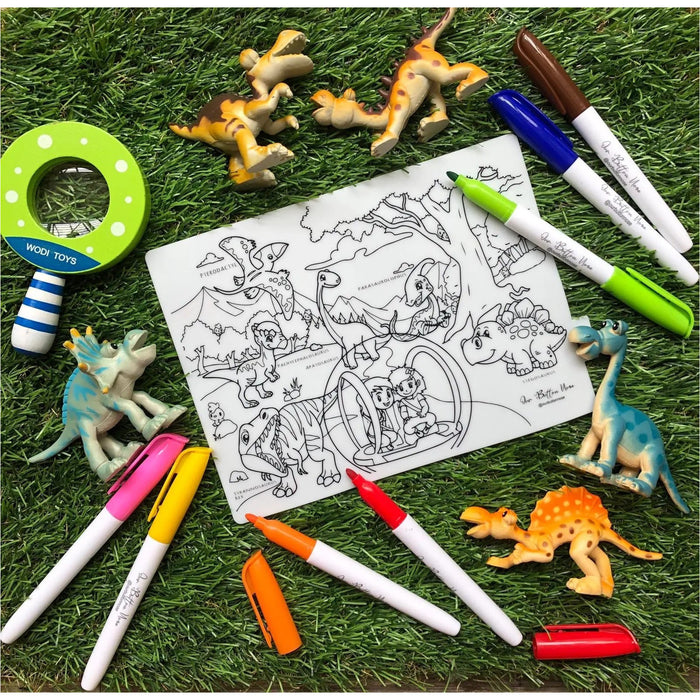 Our Button Nose - Reusable Silicone Colouring Mat 20cm x 15cm – Jurassic World