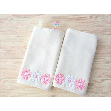 Drool Pad - Jingle Drool Pad - Off White Solid,Pink Flower