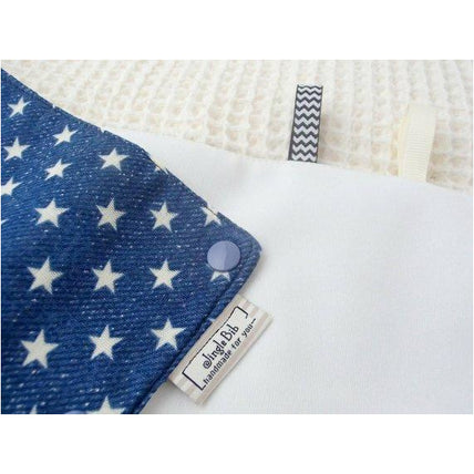 Drool Pad - Jingle Drool Pad - White Stars On Navy Denim