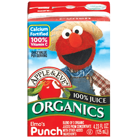 Apple & Eve Sesame Street Organics - Elmo's Punch, 4 x 125 ml.