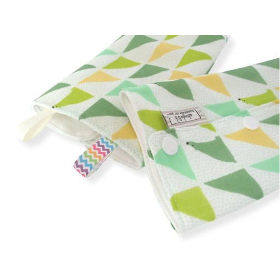 Jinglebib Drool Pad - Green Triangle