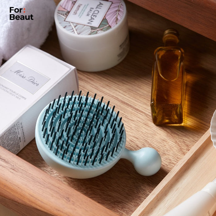Hair Brush - For Beaut Pure Me Detangling & Oil Removal Hair Brush - Aqua Mint Green (Made In Korea)