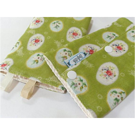 Jinglebib Drool Pad - Green Rose - Little Baby Singapore
