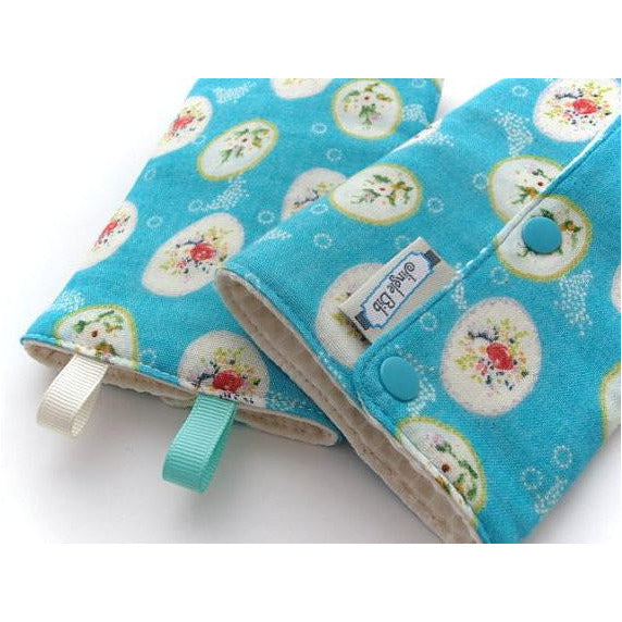 Jinglebib Drool Pad - Blue & Rose - Little Baby