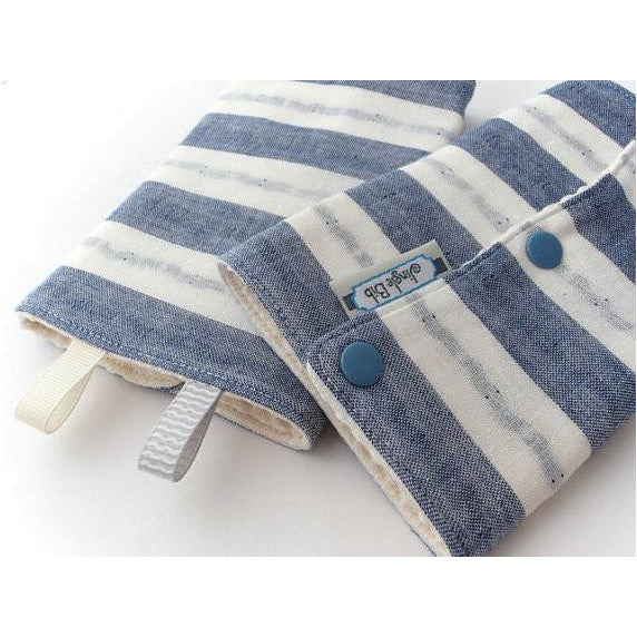 Jinglebib Drool Pad - Blue & White Stripes - Little Baby