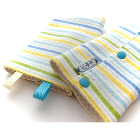 Jinglebib Drool Pad - Blue, Green, Yellow Stripes