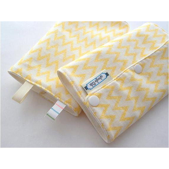 Jinglebib Drool Pad - Yellow Chevron - Little Baby