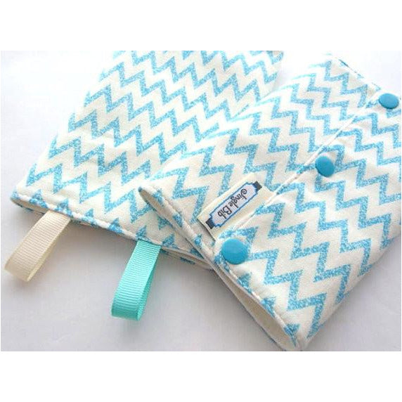 Jinglebib Drool Pad - Blue Chevron,Teal - Little Baby