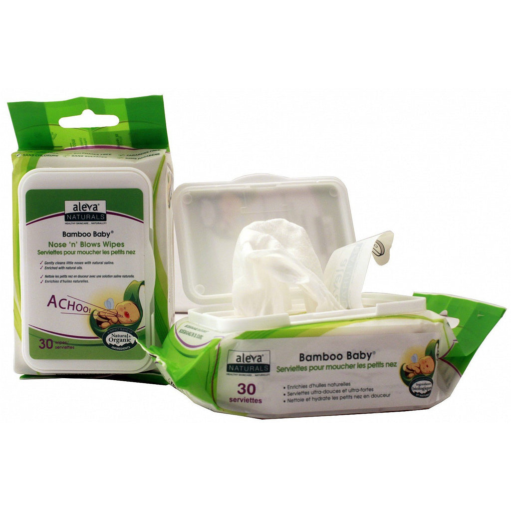 Aleva Naturals Bamboo Baby Nose 'n' Blows Wipes - 30PK - Little Baby
