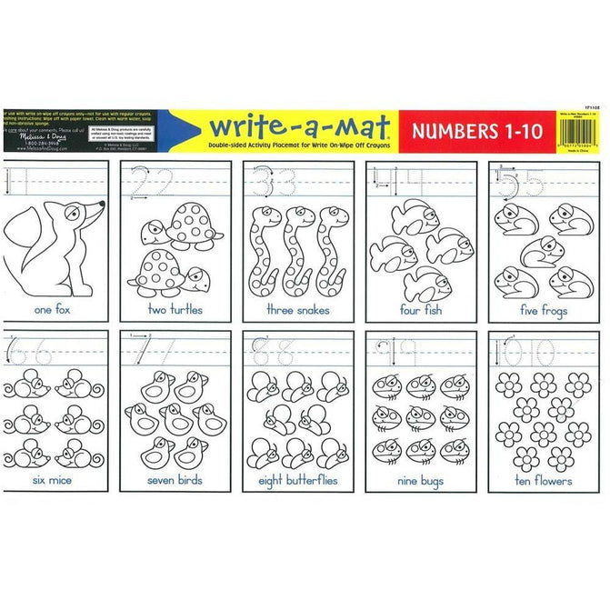Learning Mat - Melissa & Doug Numbers 1-10 Write-A-Mat