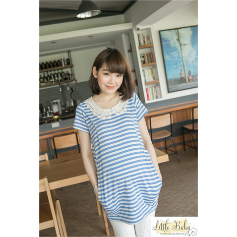 Maternity Wear - LB1667569 Sweet Lace Blue Stripe (Free Size)