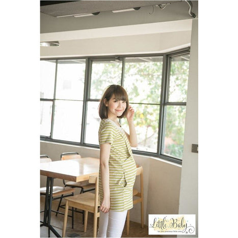 Maternity Wear - LB1667569 Sweet Lace Yellow Stripe (Free Size)