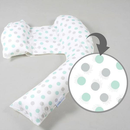 Nursing Pillow - Dreamgenii Pregnancy Support & Feeding Pillow - Geo Cotton - Grey Aqua