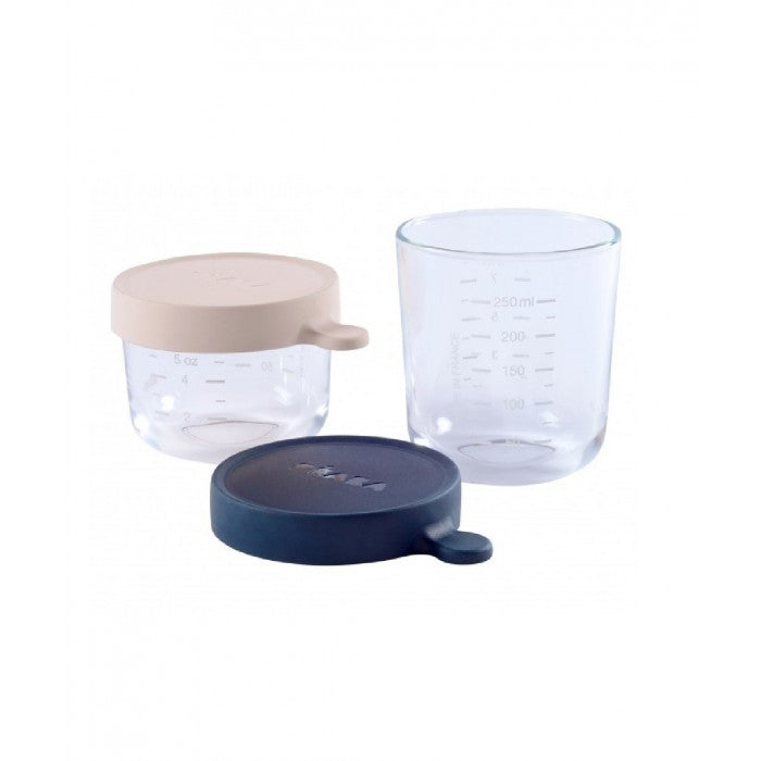 BEABA Set of Conservation Jars in Superior Quality Glass (1*150ml Pink/1*250 ml Dark Blue)