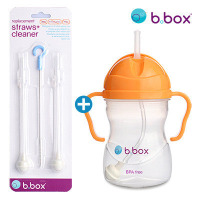 B.Box Sippy Cup + Replacement Straw & Brush Set (Orange Zing)
