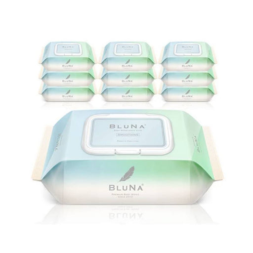 Organic Baby Wipes - Bluna Organic Smoothing Premium Embossing Wipes With CAP (72 Sheets X 10 Packs)