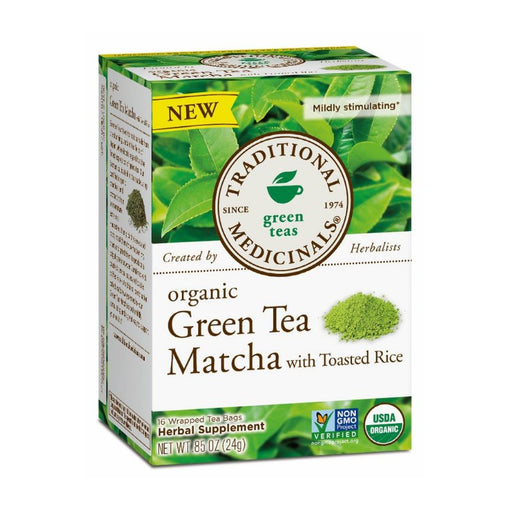 Organic Herbal Tea - Traditional Medicinals Green Tea Matcha With Toasted Rice, 16 Bags