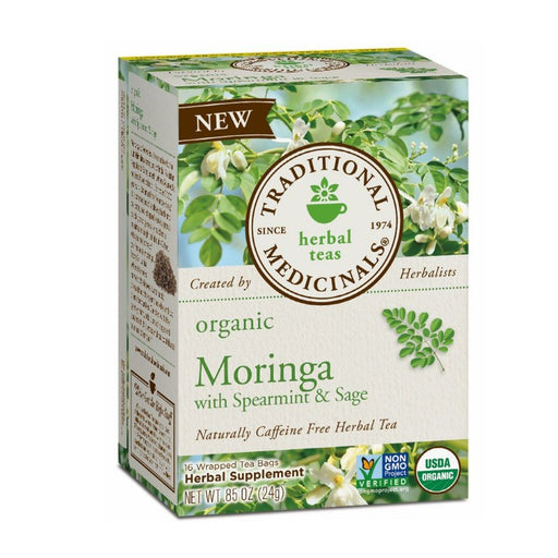 Organic Herbal Tea - Traditional Medicinals Organic Moringa With Spearmint & Sage, 16 Bags