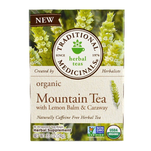 Organic Herbal Tea - Traditional Medicinals Organic Mountain Tea W/Lemon Balm & Caraway, 16 Bags