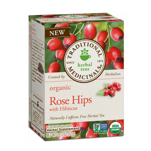 Organic Herbal Tea - Traditional Medicinals Organic Rose Hips With Hibiscus, 16 Bags
