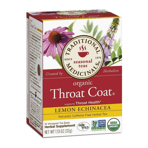 Organic Herbal Tea - Traditional Medicinals Organic Throat Coat Lemon Echinacea, 16 Bags