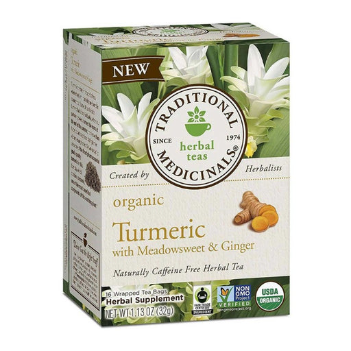 Organic Herbal Tea - Traditional Medicinals Organic Turmeric With Meadowsweet And Ginger, 16 Bags