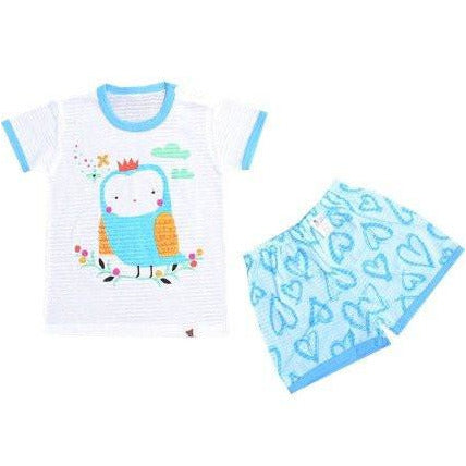 Puco Jacquard Short Sleeve Set - Soft Owl Blue