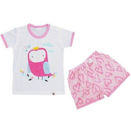 Puco Jacquard Short Sleeve Set - Soft Owl Pink