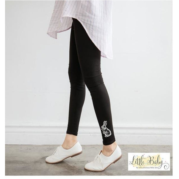 Pants - Stretchable Pants Black With Rabbit - Size L