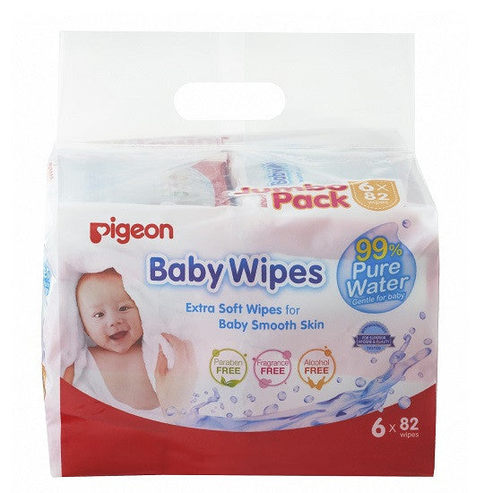Pigeon Baby Wipes – 99% Pure Water (NEW) 82's, 6in1 - Little Baby