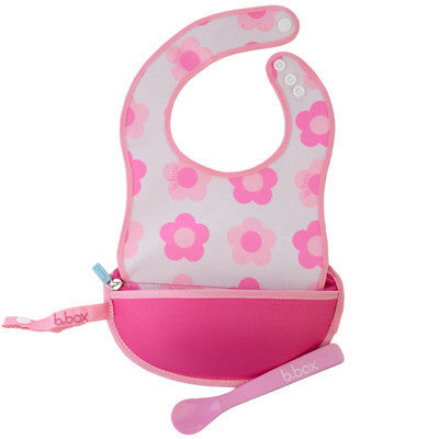 B.box Travel Bib w/ Baby Spoon (Flower Power)
