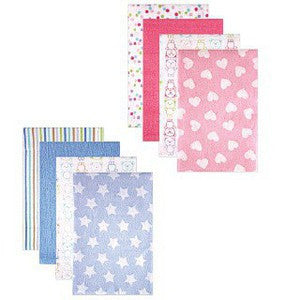 Luvable Friends Flannel Receiving Blankets - 4 Packs (Blue Stars / Pink Heart)