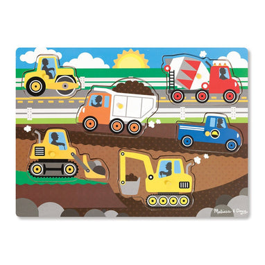 Puzzles - Melissa And Doug Construction Site Peg Puzzle - 6 Pieces