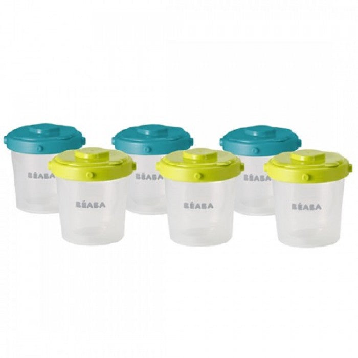 BEABA Set Of 6 Clip Portions - 2nd Age/200ml (assorted colors Blue/Neon)