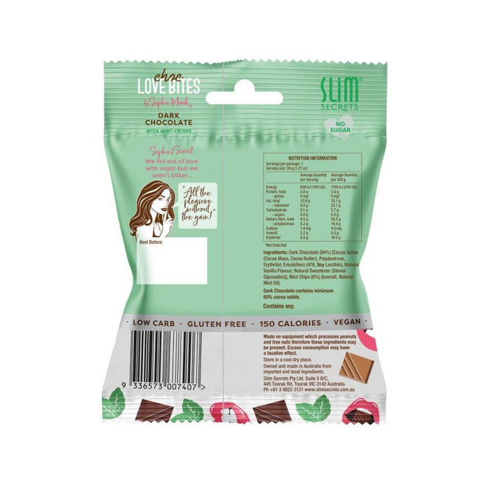 Slim Secrets Choc Love Bites - Dark Chocolate With Mint Crisps (Box Of 12) - Slim Secrets Choc Love Bites - Dark Chocolate With Mint Crisps (Box Of 12)