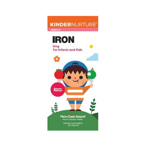 Supplements - KinderNurture Iron 5mg - Cherry Flavour, 100 Tabs.