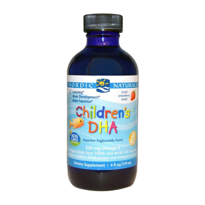 Supplements - Nordic Naturals Children's DHA Arctic Cod Liver Oil - Strawberry, 119 Ml.