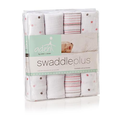 Swaddle - Aden+Anais Muslin Swaddleplus 4-Pack - Oh Girl