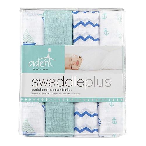 Swaddle - Aden+Anais Muslin Swaddleplus 4-Pack - Sailing Sea