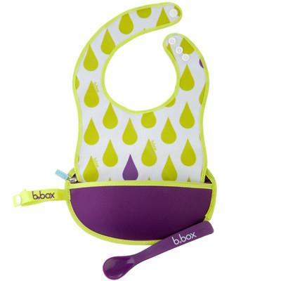 Travel Bib - B.box Travel Bib W/ Baby Spoon (Splish Splash)