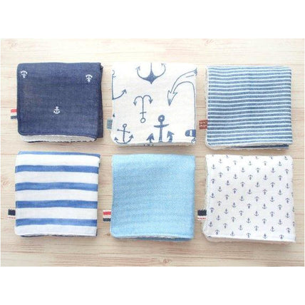 Wash Cloth - Jingle Baby Wipe Cloth Set Of 6 - Japanese Double Gauze Soft Muslin - Anchor