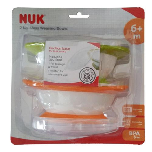 Weaning Bowls - NUK 2 No-Mess Weaning Bowls 6m+
