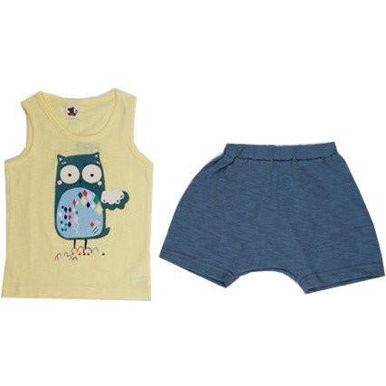 Puco Premium Sleeveless Set - Yellow Owl