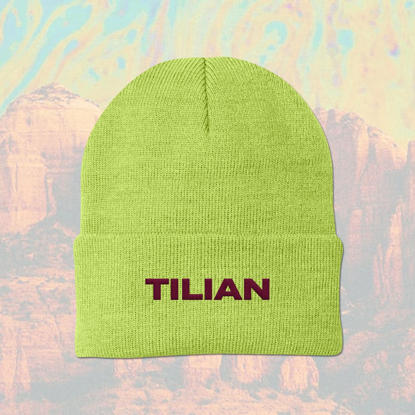 Text Logo Safety Yellow Winter Beanie