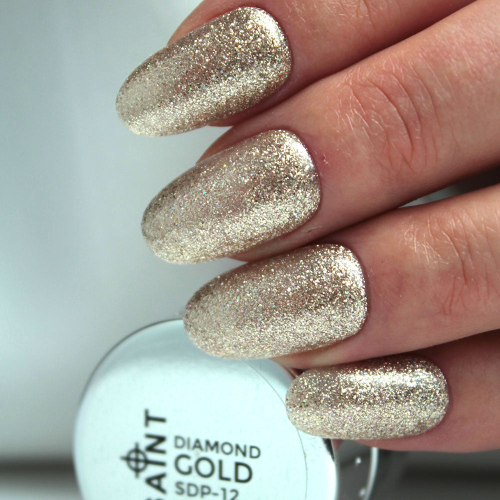 Diamond Gold Gel Nail Polish from Saintnails.com