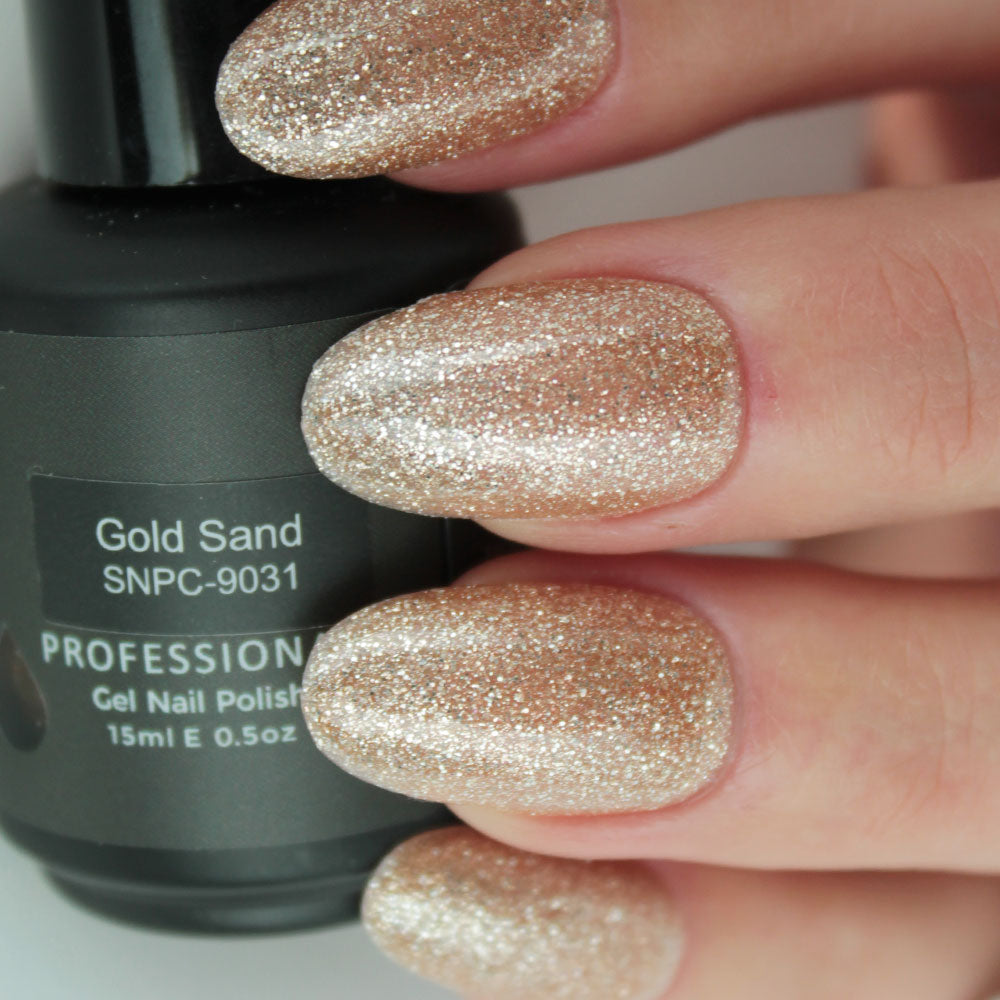 Gold Sand Gel Nail Polish from Saintnails.com