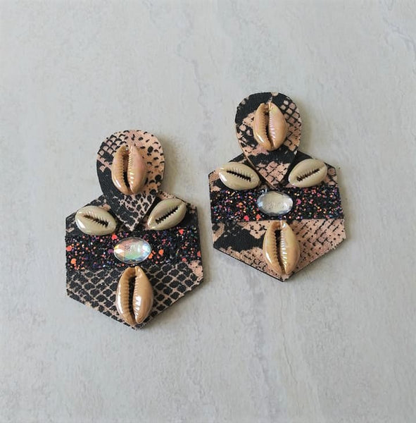Valencia Tribal Wood Stud Earrings